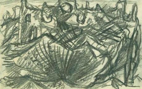 """<p>Abb. 2: Otto Dix, """"In den Trümmern von Aubérive"""", undatiert</p>"""